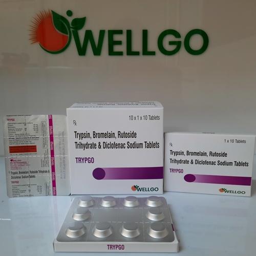 Trypsin 45 Mg + Bromelain 90mg + Rutoside 100mg +Diclofenac 50mg PCD